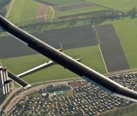 The first flight for the Swiss Solar Impulse 2 , the solar-powered aircraft