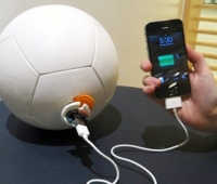 A soccer ball that generates energy to power playing