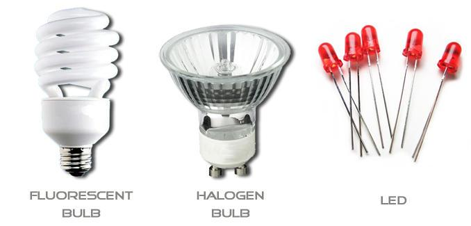 Fluorescent bulbs, halogen bulbs, leds