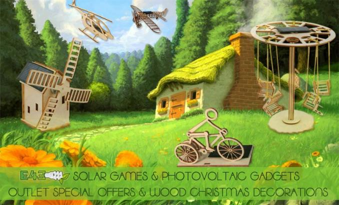 Wood solar games, outlet special offers, decorations in wood
